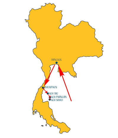 Karte Thailand Reiseroute