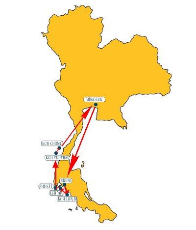 Karte für Thailand Reiseroute