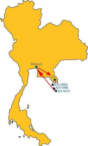 Karte Thailand Reiseroute 2-3 Wochen